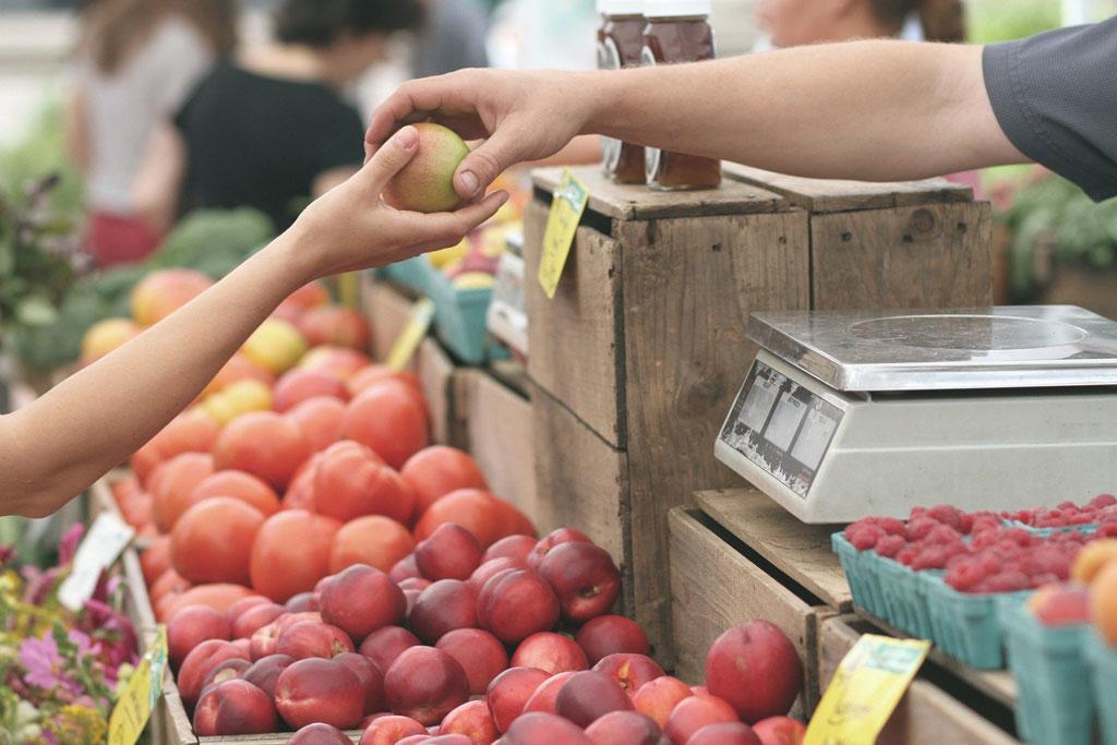 Kaufrecht - Apfelkauf auf Markt